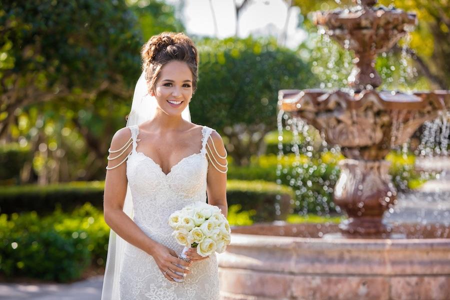 Naama and Anat Haute Couture, glamorous Miami wedding, wedding gown, Naama and Anat Bridal, wedding dress, bridal couture, couture bridal, bridal designer, wedding gown, real wedding, glamorous wedding, Miami Biltmore Hotel, bride, beautiful, fountain, beautiful bride